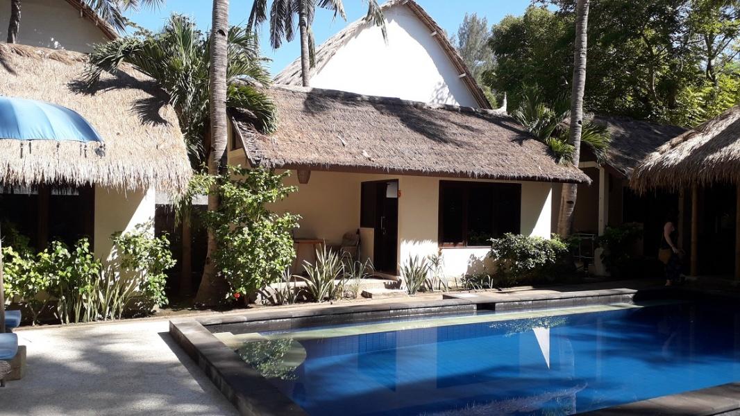 Beautiful resort in coconut palm grove, Gili Trawangan, Lombok