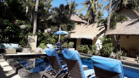 Beautiful resort in coconut palm grove, Gili Trawangan, Lombok